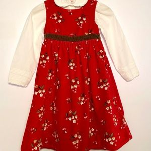 Gap Kids Velvet Floral Dress w/Blouse 4T